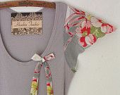 les fleurs hankie tankie tank top t shirt blouse rustic woodland upcycled clothing summer fashion