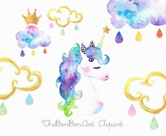 Acuarela De Imágenes Prediseñadas De Unicornio