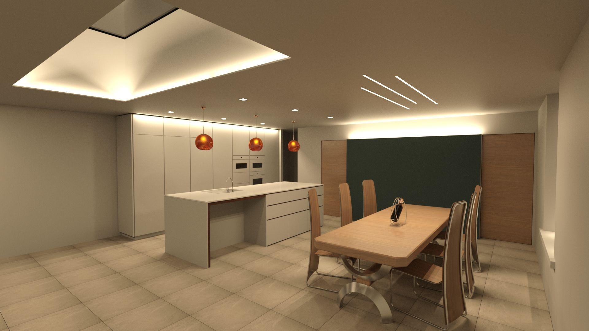 kitchen lighting render visualisation example by