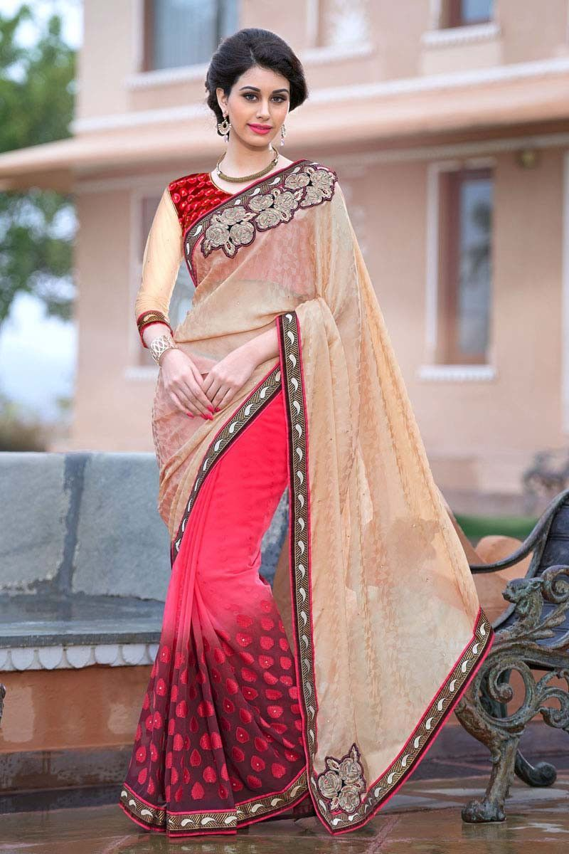 Buy Cream Crepe Party Wear Saree Online in low price at Variation. Huge collection of Party Wear Sarees for Party, Festivals, Engagements and Ceremonies. #party #partywearsarees #sarees #onlineshopping #latest #lowprice #variation. To see more - https://www.variationfashion.com/collections/party-wear-sarees