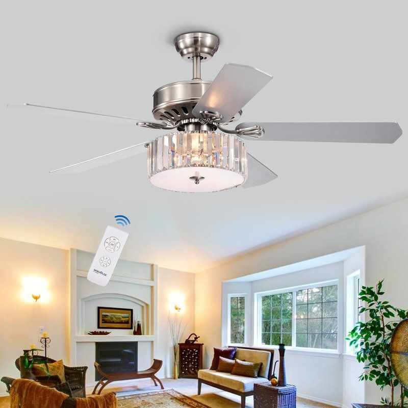 52 Dixie Crystal 5 Blade Ceiling Fan With Remote Light Kit