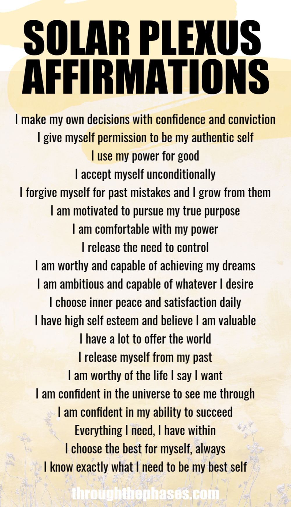20 Solar Plexus Chakra Healing Affirmations to Find Your Purpose