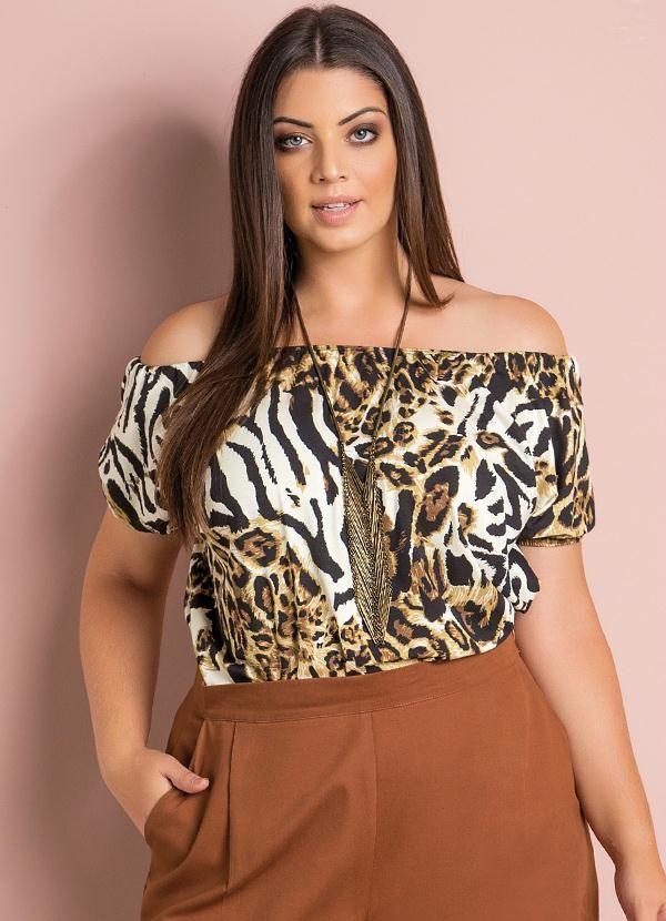 Blusa Ciganinha (Animal Print) Plus Size  8784c702e1c