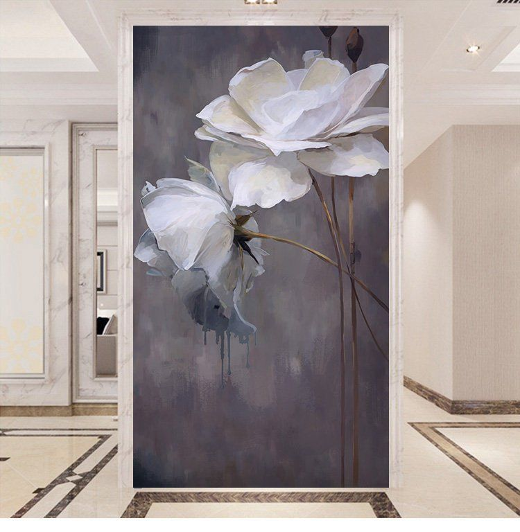Simple Grey And White Color Wallpaper Wall Mural Lotus Floral Etsy Wall Murals Bedroom Grey Floral Wallpaper Painting Wallpaper