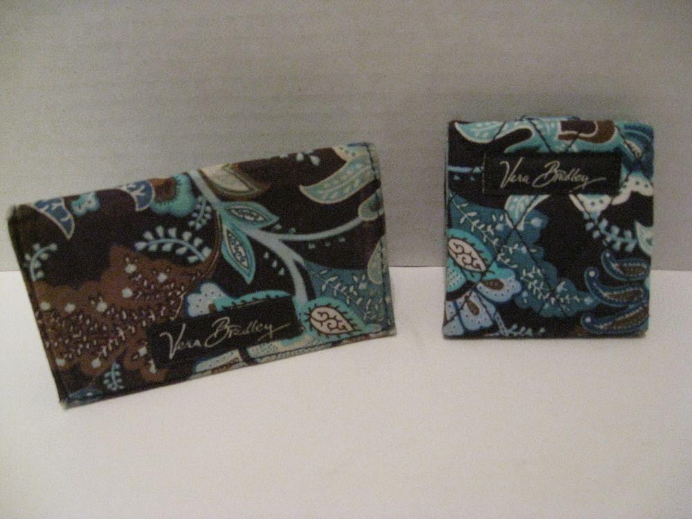Vera Bradley Java Blue Snap Close Mirror + Business Card Holder ...