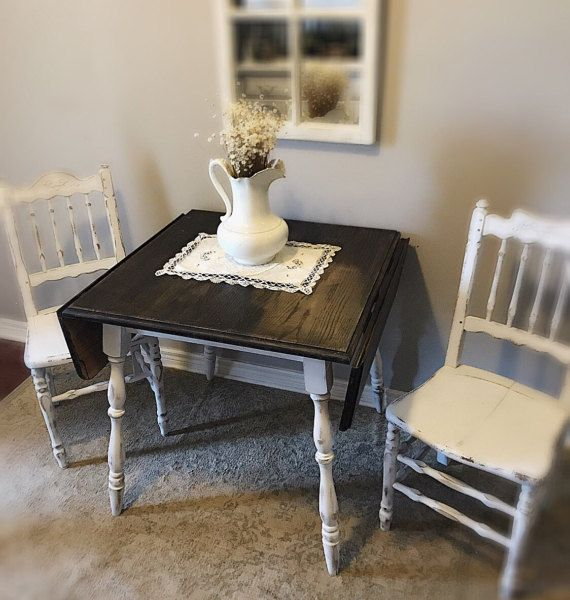 distressed dropleaf kitchen table with chairs small white