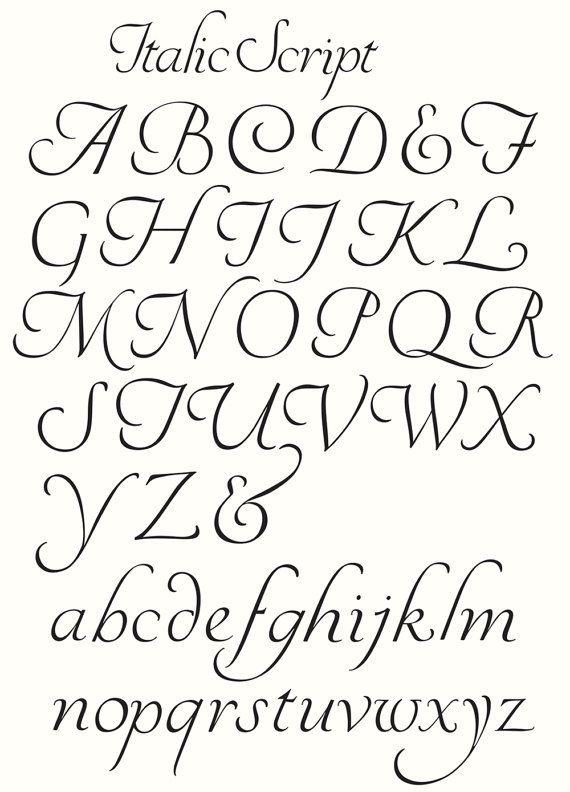 Clipart Alphabet Clipart Letters Italic Script Letters Vector
