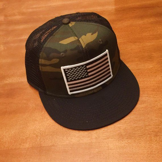 Black and White AMERICAN FLAG/Camo Trucker Hat with Black