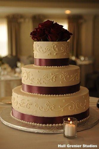 3 Tier Cake With Burgundy Champagne Wedding Cakes Burgundy Wedding Cake Ivory Wedding Cake