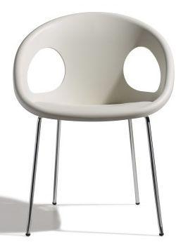 Drop 4 stoel - Scab - Wit / chroom