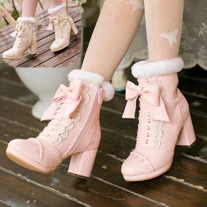 "Sweet lolita bowknot heels boots SE9260   Coupon code ""cutekawaii"" for 10% off"
