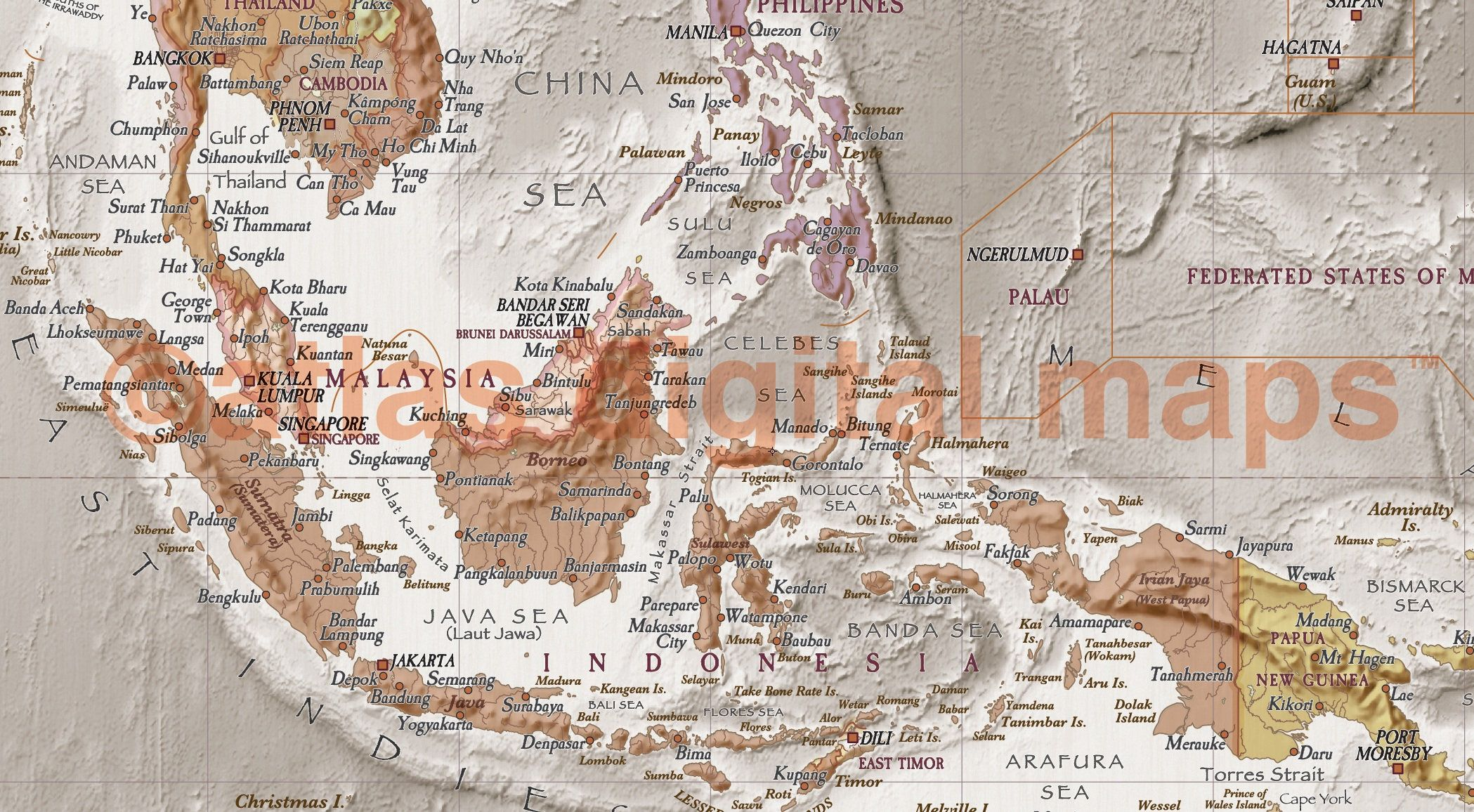Antique Vintage Style World Map Print Physical Political World - Antique looking world maps for sale
