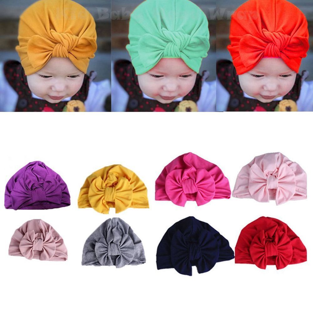 Details about  /Newborn Baby Kids Boy Girl Knotted Lace Bow Hat Beanie Headwear Cap Hat