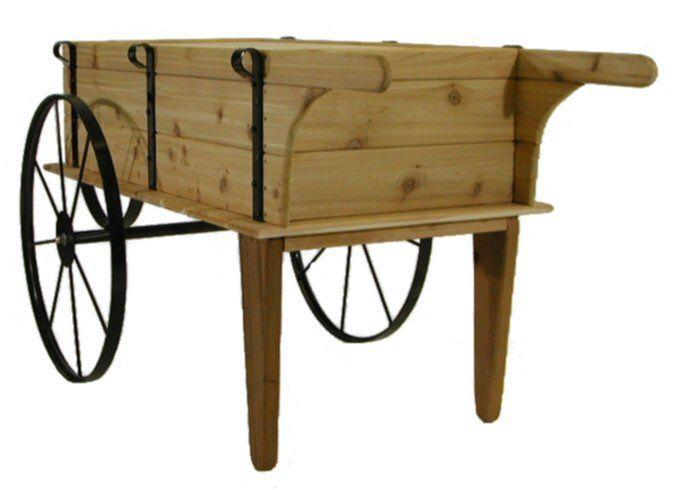 Flower Carts On Wheels Cart Wood Planter