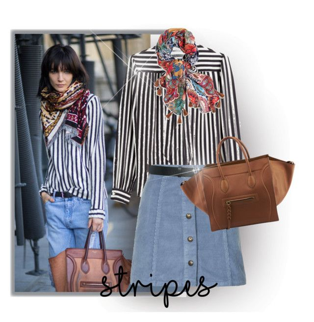 """""""Stripes"""" by nikitawallis ❤ liked on Polyvore featuring Philosophy di Lorenzo Serafini, Topshop, M&Co, Chico's and CÉLINE"""