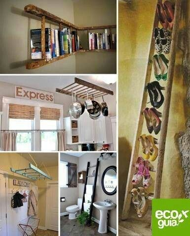 Uses for an old wooden ladder | Cleaning & Organizing | Pinterest ...