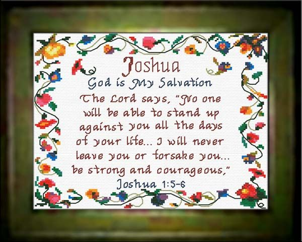 Joshua   Name Blessings Personalized Cross Stitch Design