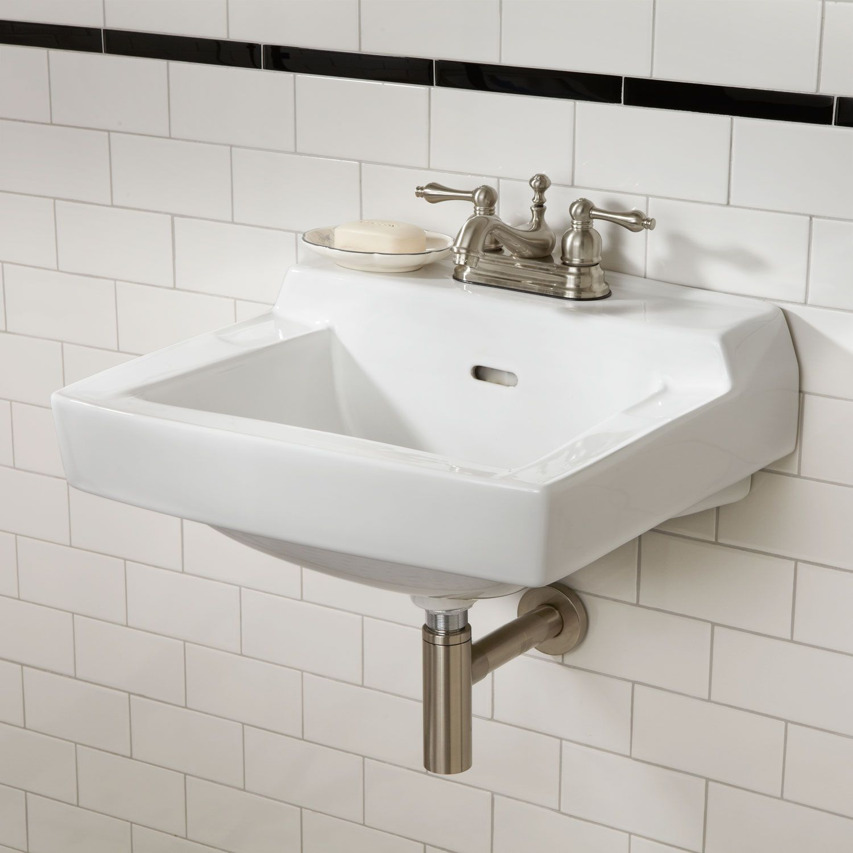 Prescott Wall Mount Sink  Signature Hardware  Scrub a dub  Wall mounted bathroom sinks Wall