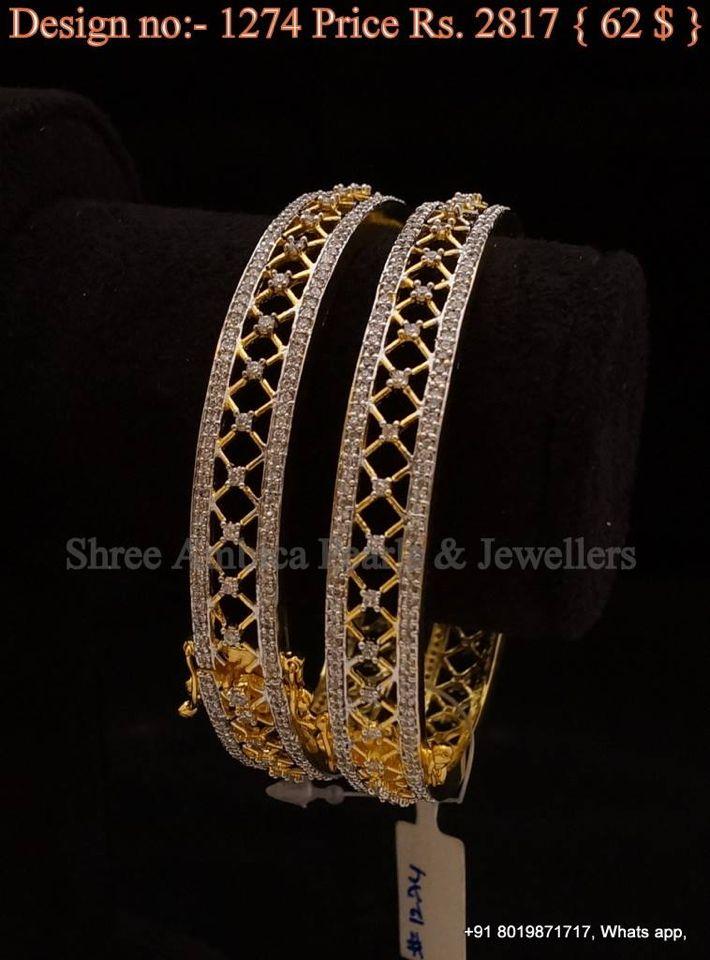 24a867171d6 Cz gold bangles | Bangles/Bracelets/Kada in 2019 | Gold bangles ...