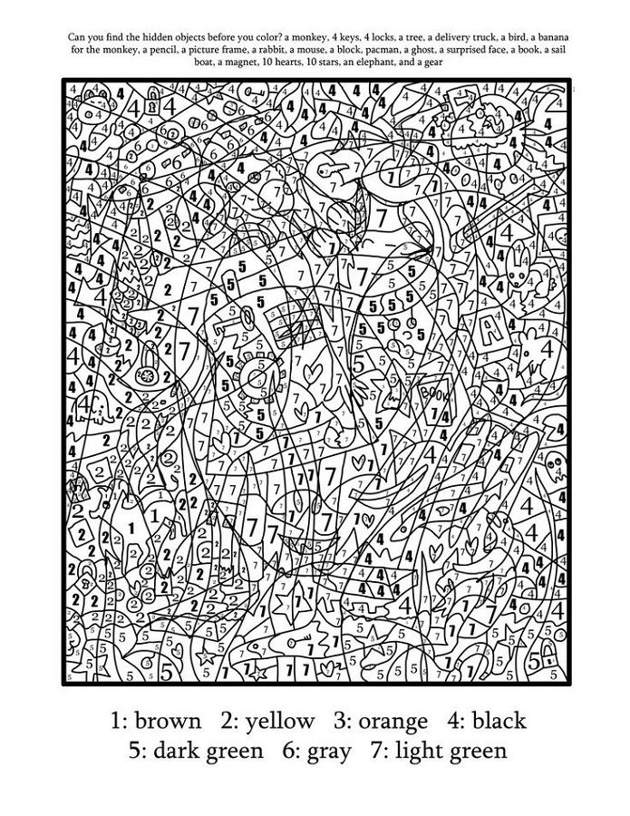 hard color by number worksheets printable | Coloring Pages for Kids ...