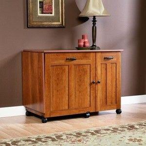 New Sauder Sewing Craft Table Drop Leaf Shelves Storage Bins Cabinets Ebay