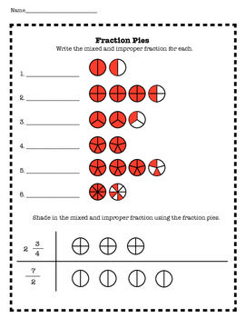 This worksheet contains practice with mixed and improper fractions using fraction pies the students will also rh pinterest