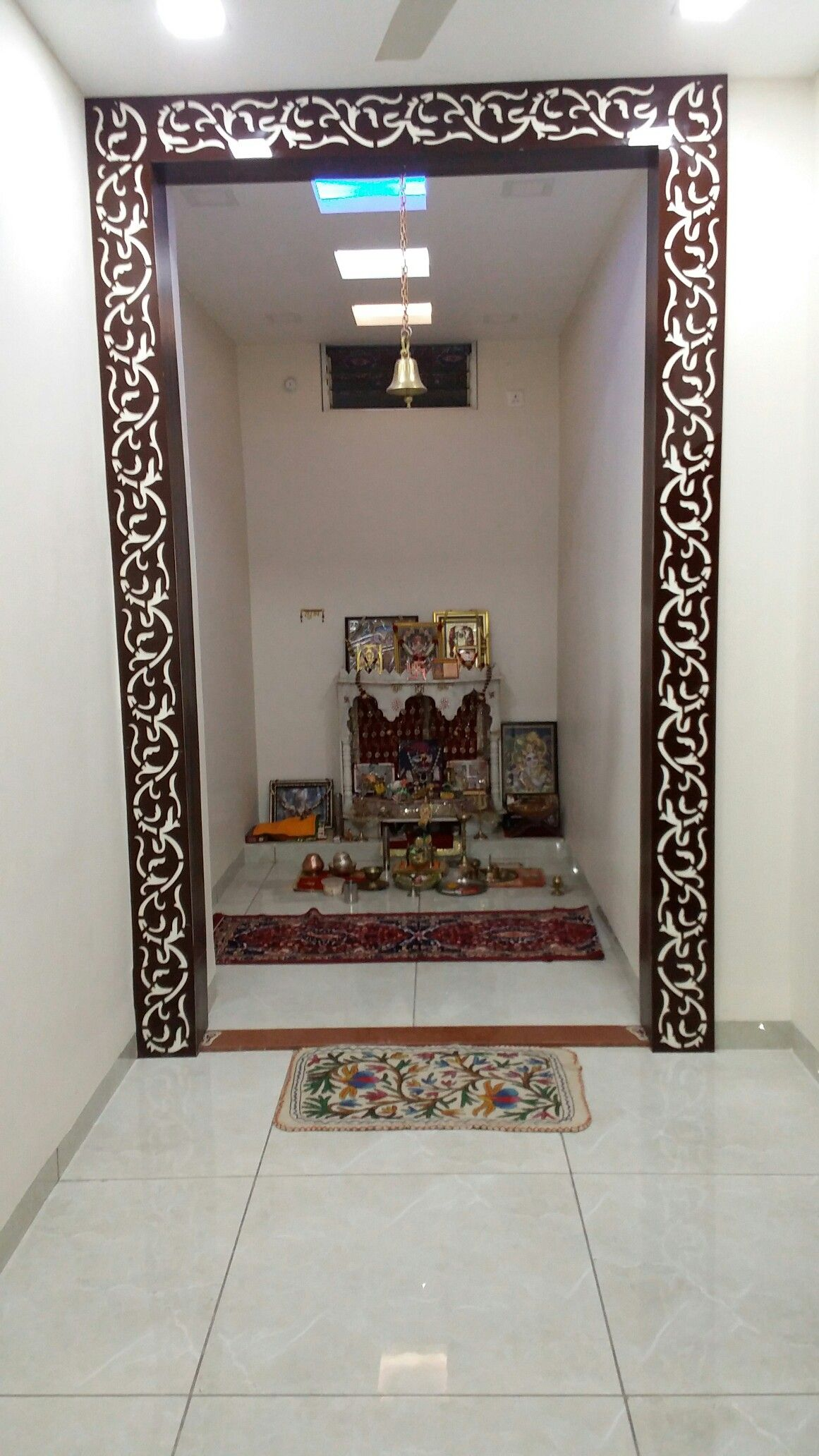 Acrylic cutting pooja room design mandir puja doors easy also lattice that make your look more attractive rh pinterest