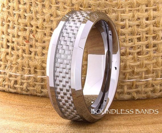 Tungsten Wedding Ring Grey Carbon Fiber Inlay Tungsten Ring Men S Tungsten Wedding Band Men