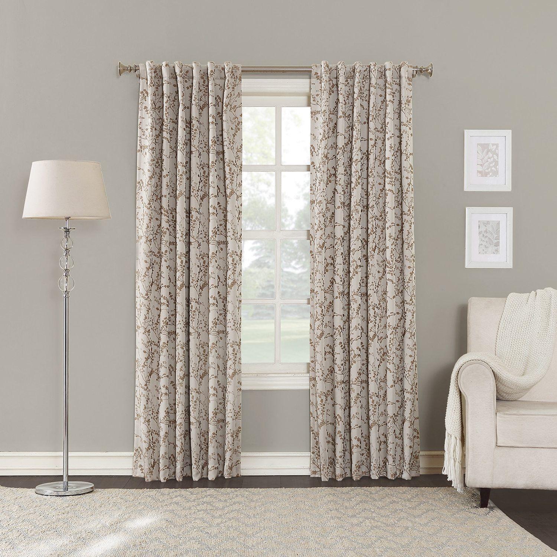 Luxury window coverings  girls cream light brown floral window curtain  inch single