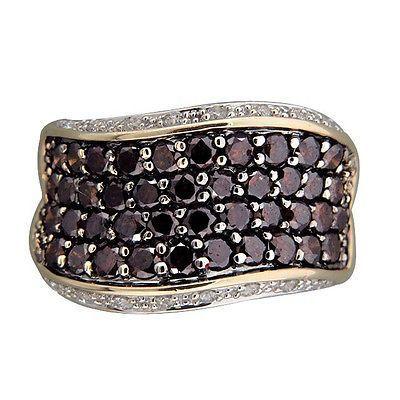 Vintage Swirl Design 3.00ct Cognac Brown Diamond Full White 14k Gold Ring