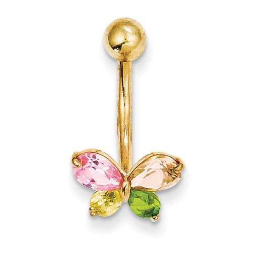 10k Yellow Gold Multi-Color Cz Butterfly Belly Dangle