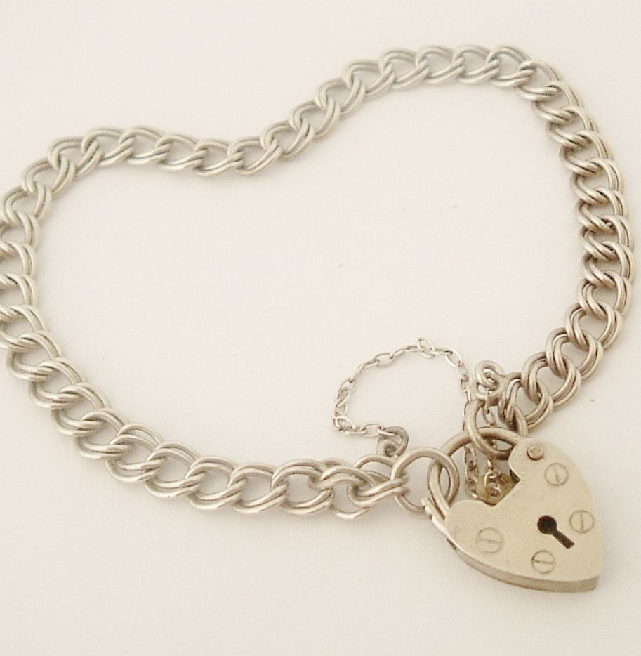 Silver Bracelets For Teenage Girls  Vintage English Sterling Silver Charm  Bracelet With Padlock From
