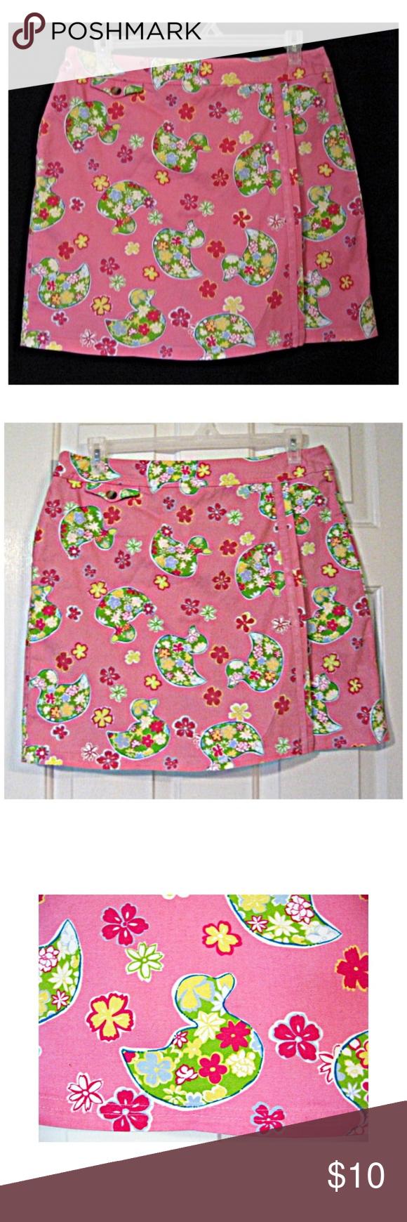 Boho Pink Duck Print Stretch Twill Golf Skort 14 Adorable preppy pink golf skort from DUCK HEAD. 97% cotton, 3% spandex Size 14 Waist: 36