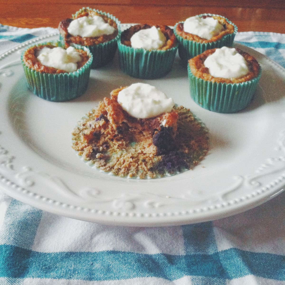 "47 calorie muffins: Lemon Blueberry Coconut Flour Muffins with Lemon ""Cream Cheese"" Frosting"