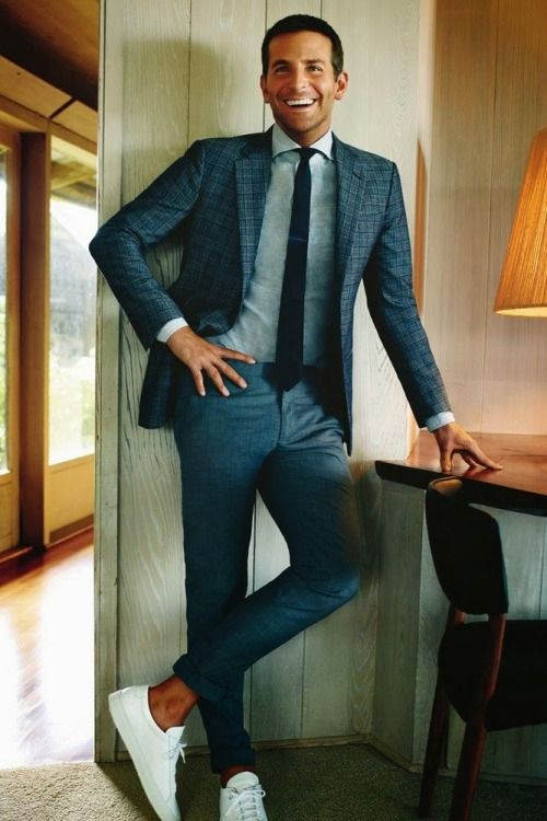 Grey suit with white shoes