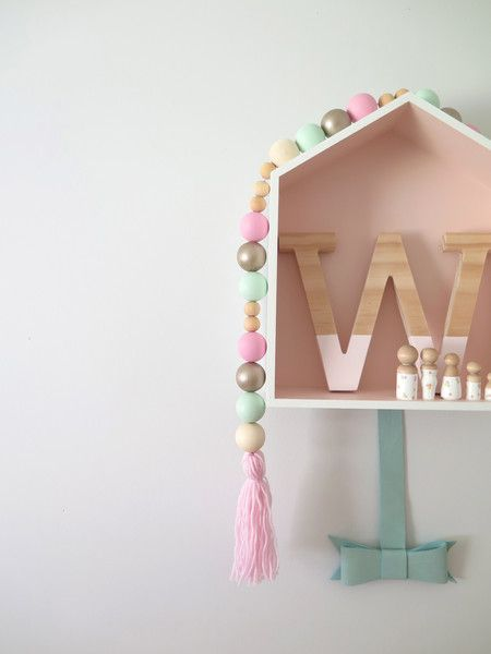 """Fairy Floss"" Wooden Bead Tassel Mobile"