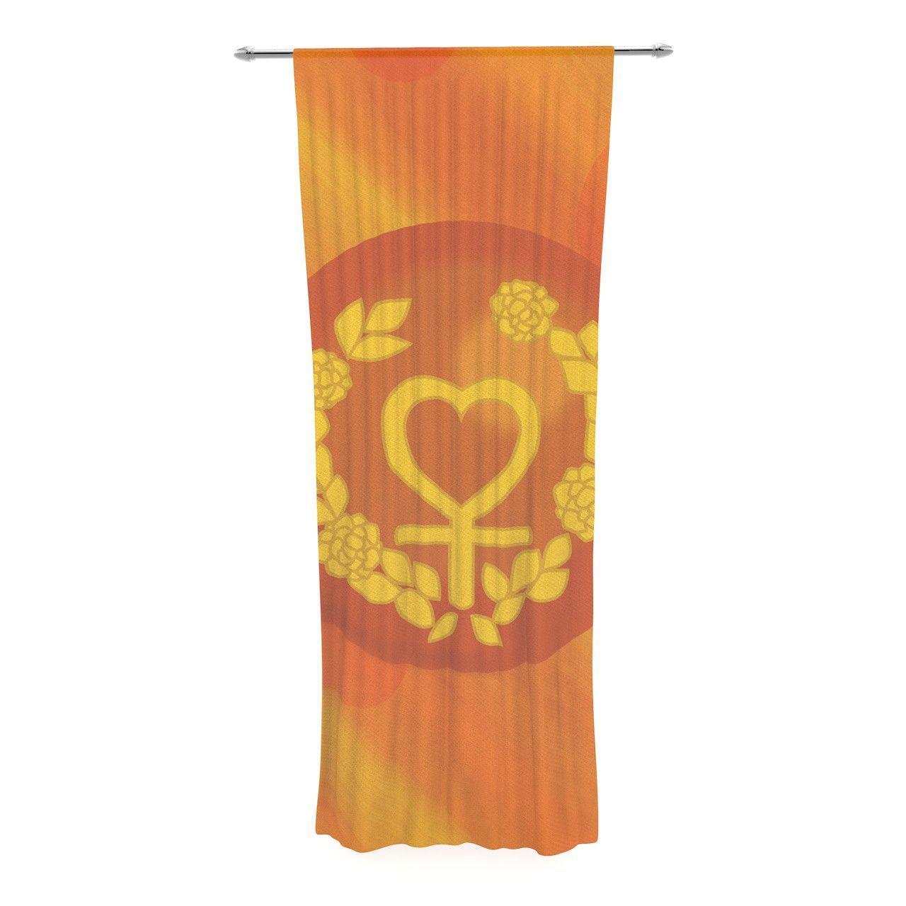 NL Designs Venus Orange Yellow Decorative Sheer Curtain