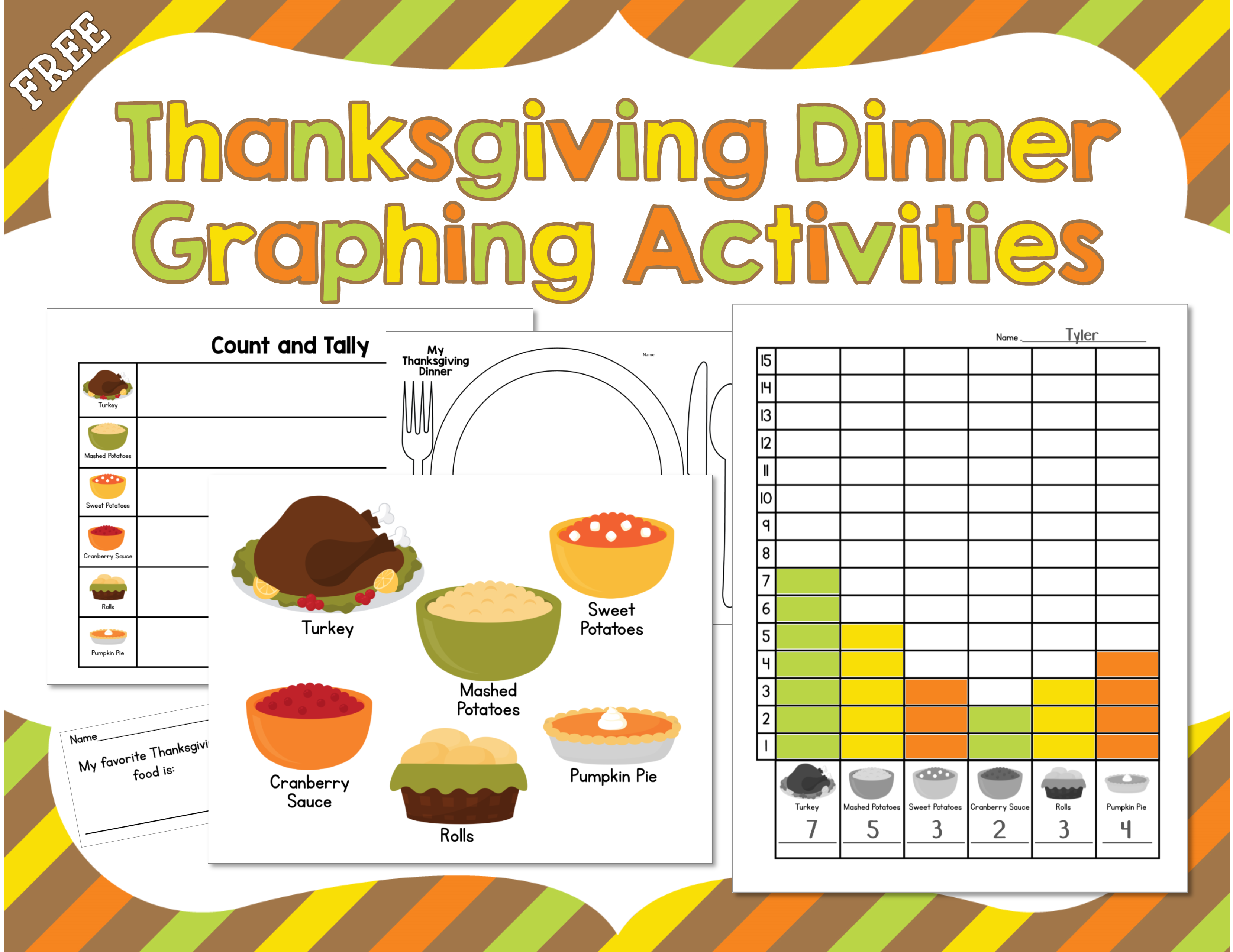 Freebie Thanksgiving Dinner Graphing Activities From Mrs