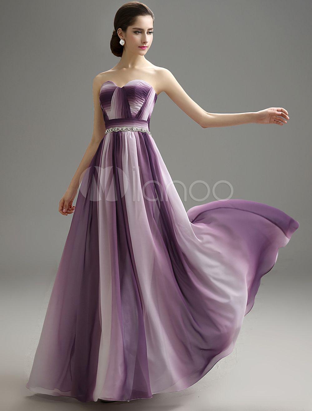 Ivory Ombrea Strapless Pleated Chiffon Prom Dress - Milanoo.com ...