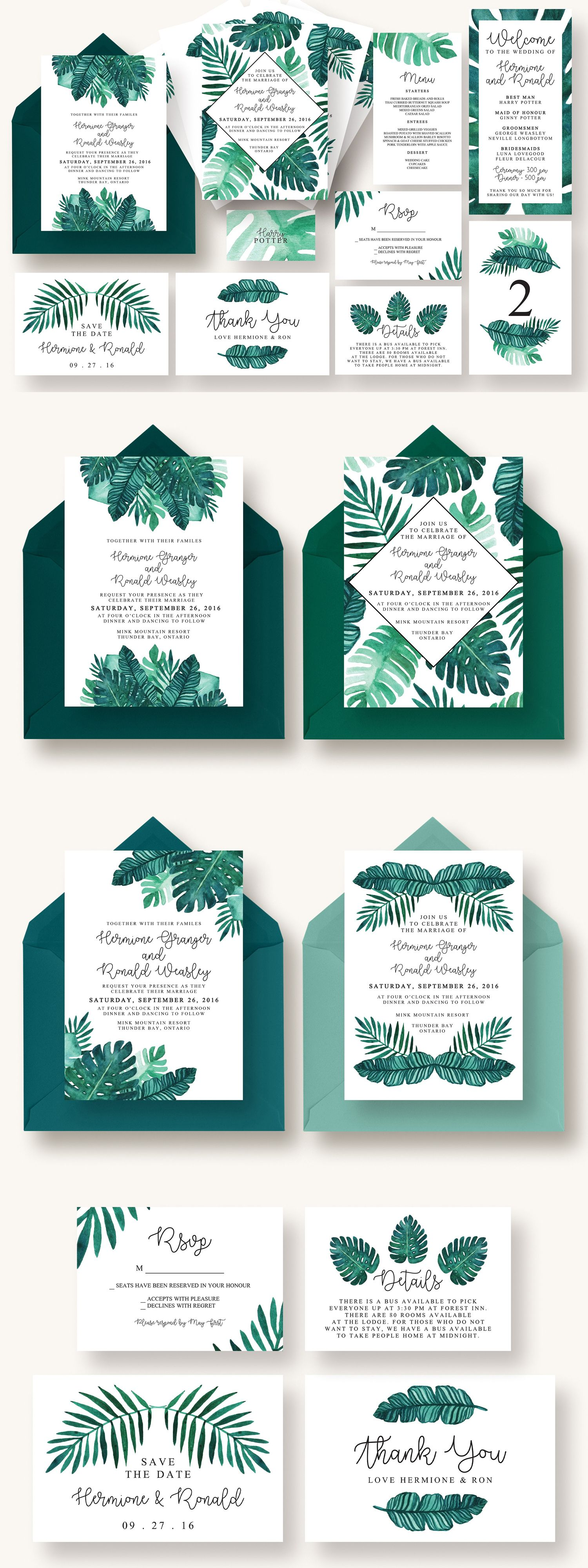 Tropical Leaves Invitation Suite | Pinterest | Invitation suite and ...