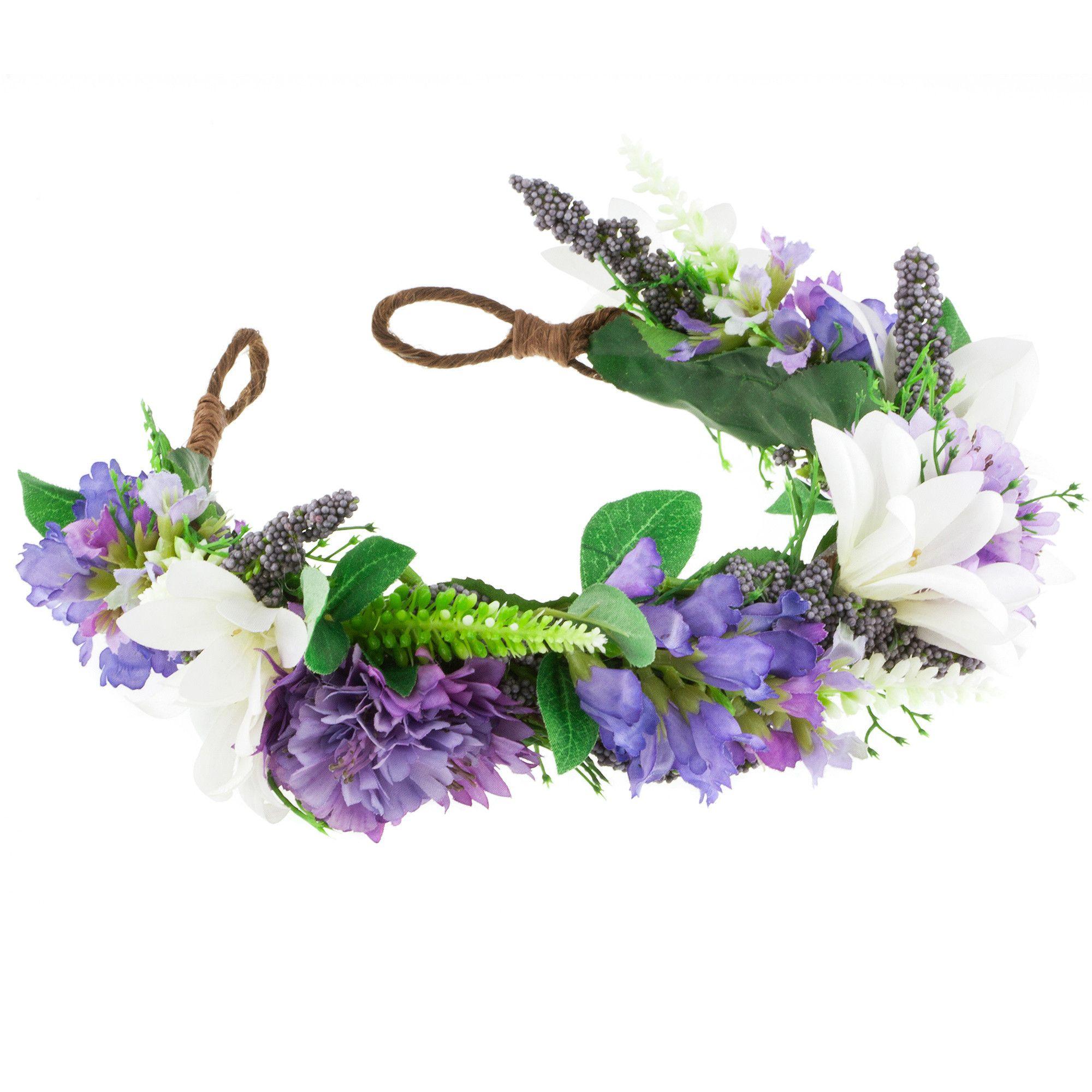 Image Of Violet Floral Meadow Crown Headband Flower Crown