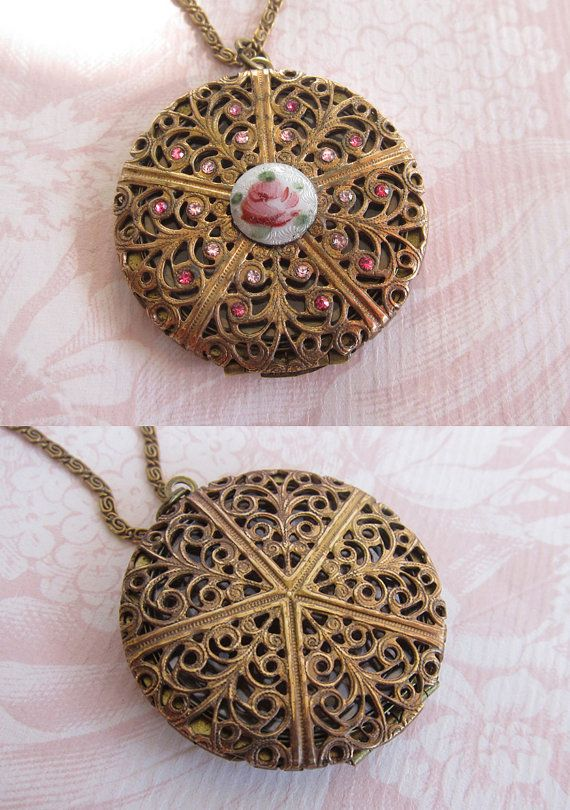 Vintage Filigree Locket . Guilloche Enamel Necklace  . Czech Crystal Rhinestones