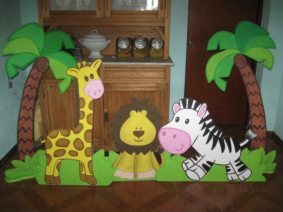 Fiestas infantiles decoraci n animales de la selva 10 jpg for Decoracion infantil goma eva