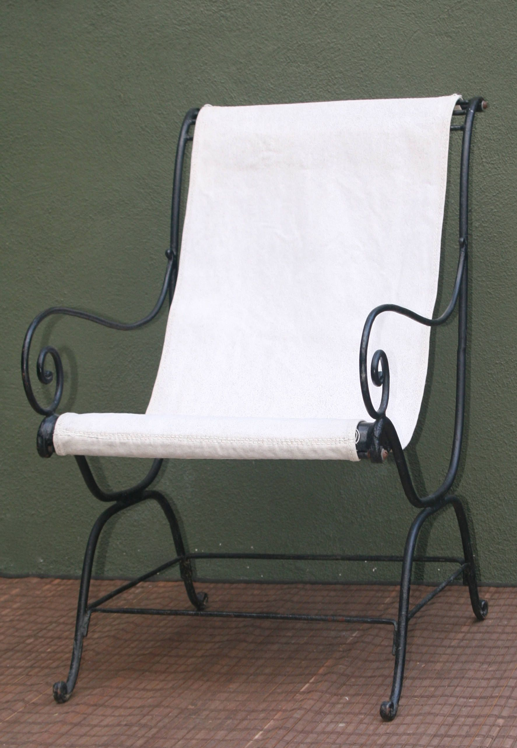 canvas sling chair modern chairs vintage wrought iron with seatvintage seat 37 high 27 5 deep 20 wide by theoldgreengarage on etsy