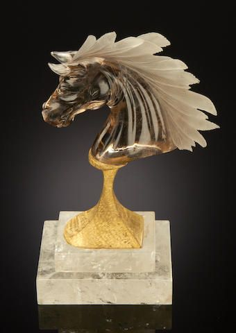 Smoky Quartz Bust of a Horse - sold for $2,750