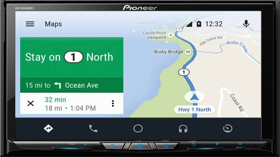 Android Auto maps on a Pioneer AVH-W4400NEX receiver