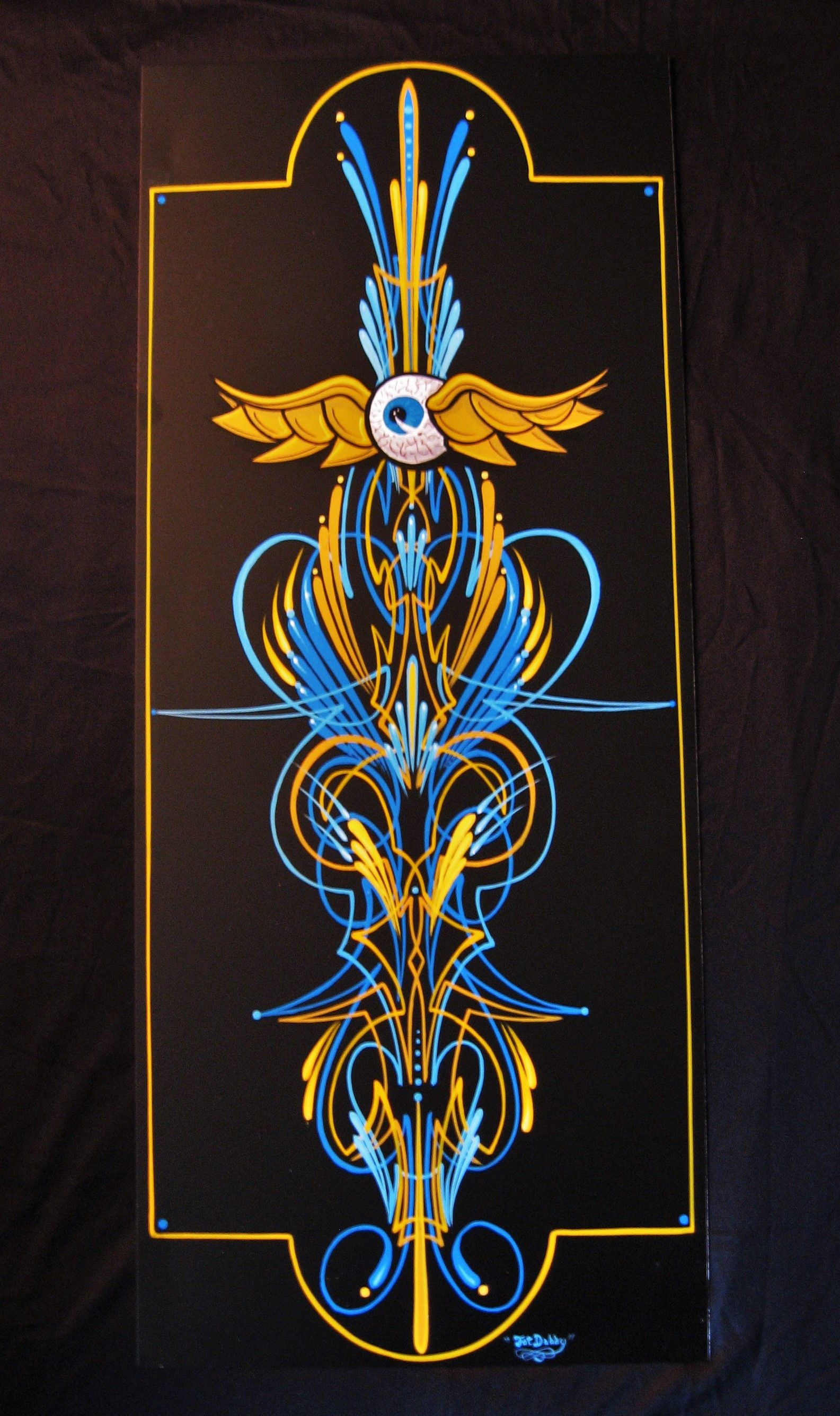 My signature scroll style pinstriping called donut boy this my signature scroll style pinstriping called donut boy this piece features the flying publicscrutiny Gallery