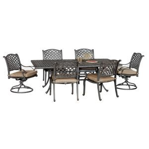 Moab World Source 7 Piece Patio Dining Set Backyard Furniture Modern Outdoor