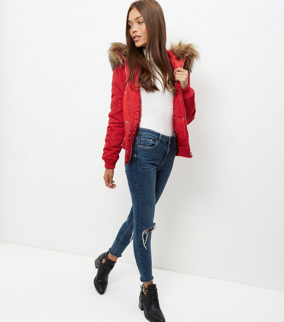 Red Padded Faux Fur Trim Hooded Bomber Jacket New Look Hooded Bomber Jacket Fur Trim Bomber Jacket [ 1078 x 950 Pixel ]