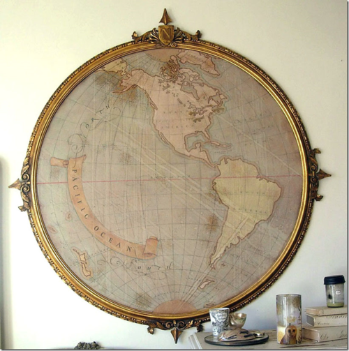 Big round frame id like this but fashioned like a window instead vintage map old frame round and perfect gumiabroncs Images